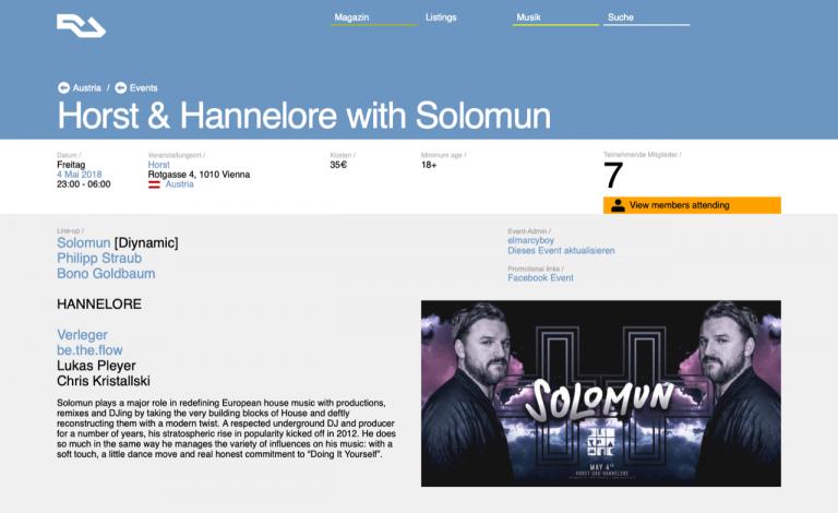 Marketing Post Solomun at Club Horst Vienna