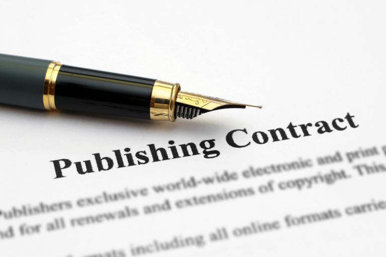 Fülfeder mit Text publishing Contract